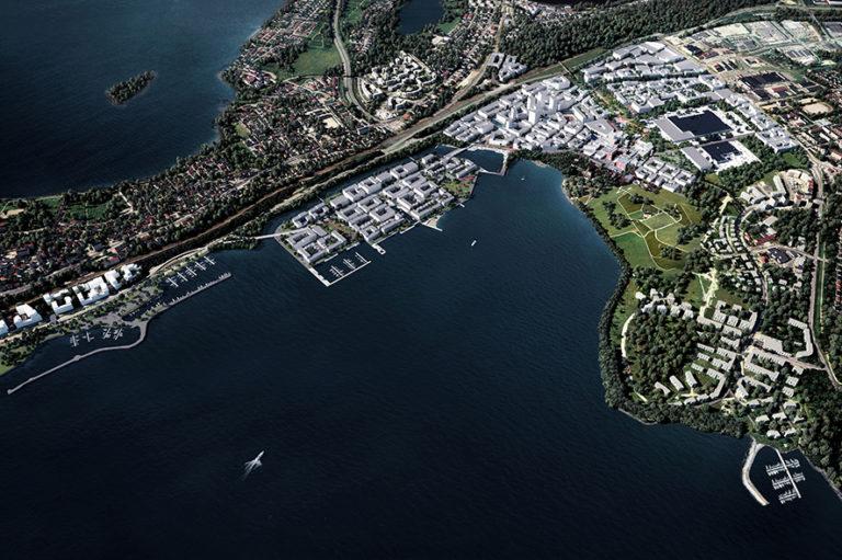 Hiedanrannan havainnekuvassa näkyy Hiedanrannan yleissuunnitelma ylhäältä käsin.