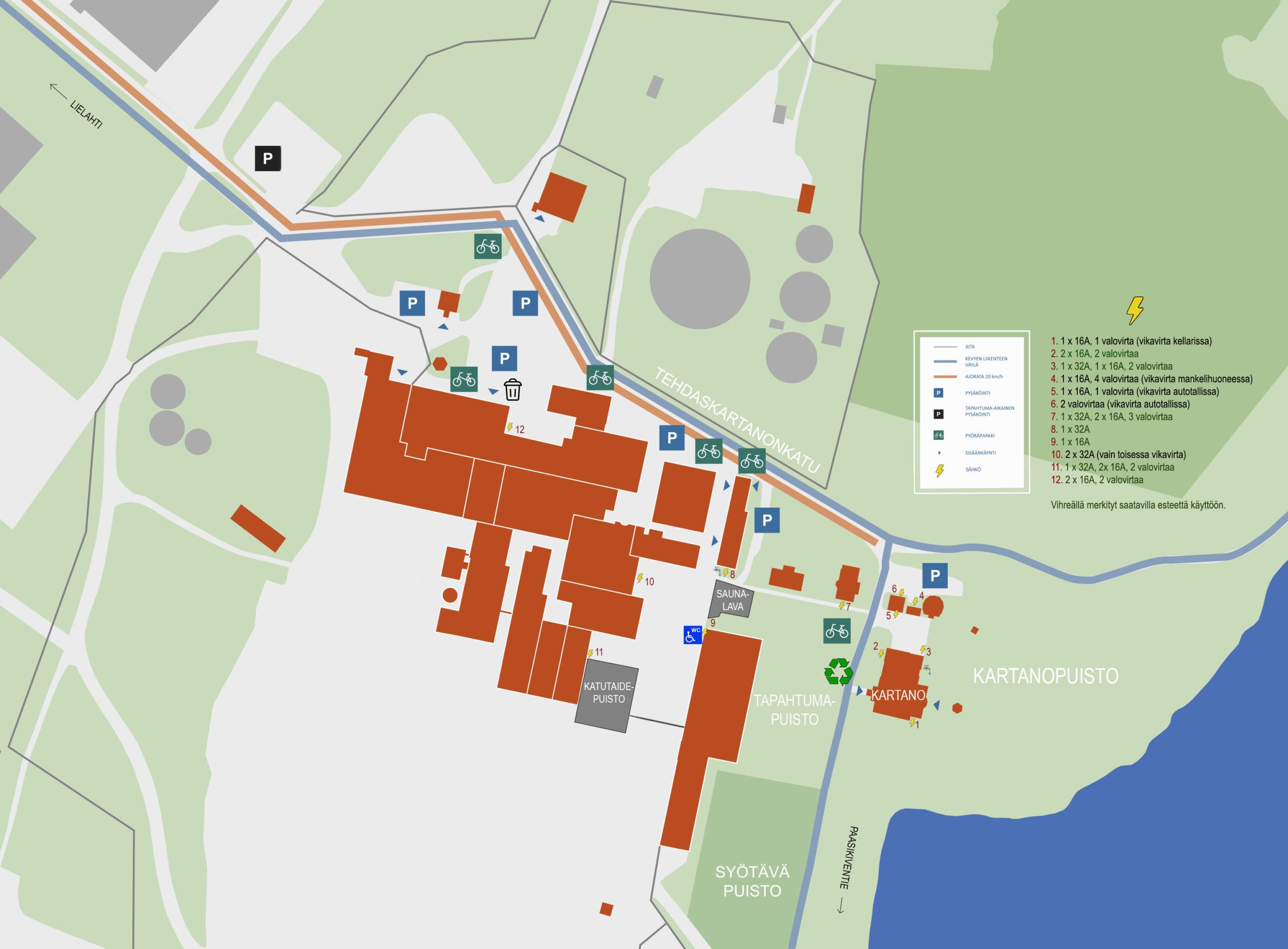 Karttakuva Hiedanrannan tapahtumapaikoista